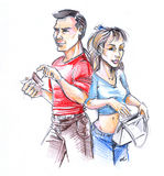 Caricature of man and woman. A caricature or sketch of a casually dressed young man and woman Stock Photography