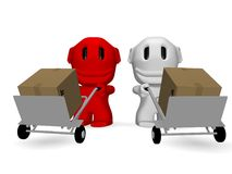 Caricature of men who deliver parcels Royalty Free Stock Photography