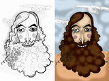 Caricature portrait of bearded men Stock Image