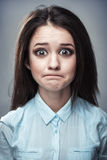 Caricature portrait of a frustrated girl Stock Images