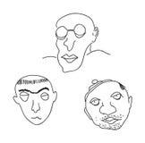 Caricature portraits. On white background Stock Image