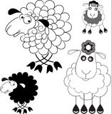 Caricature of sheep. Option Line and the option the silhouette Stock Photos