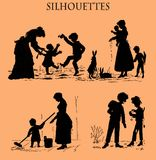 Caricature silhouettes in black, family life, old print Stock Image