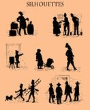 Silhouettes in black, street life in Munich, old print Royalty Free Stock Photos
