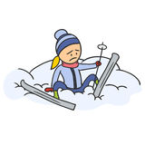 Caricature skier Royalty Free Stock Photos