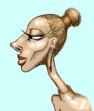 Caricature of woman profile Stock Images