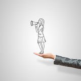 Caricatures of businesswoman in palm Royalty Free Stock Image