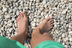 Caricatures of legs and feet. To the sea stock photography