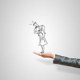 Caricatures of woman in palm. Drawn woman doctor in female palm on gray background stock image