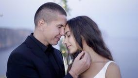 Caricia de la pareja de matrimonios en la naturaleza metrajes
