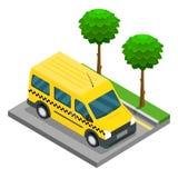 Carico isometrico del camion di 3d van car del taxi royalty illustrazione gratis