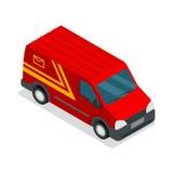 Carico isometrico del camion di 3d van car di consegna Fotografia Stock Libera da Diritti