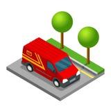 Carico isometrico del camion di 3d van car di consegna Illustrazione di Stock