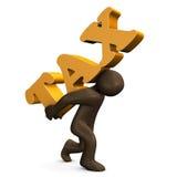 Carico - manichino marrone con la TASSA del testo Fotografie Stock