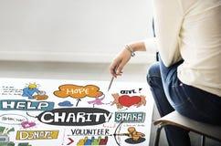 A caridade doa dá o conceito do auxílio da esperança fotos de stock