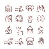 Caridade que dá, patrocínio, doação, humanitário, dinheiro aos ícones lineares do vetor da criança ilustração royalty free