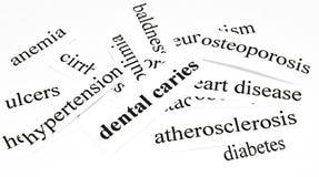 Carie dental. Concepto de la atención sanitaria de enfermedades causadas por la nutrición malsana Fotografía de archivo
