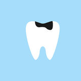 Caries tooth flat icon. Dental and medicine, sick tooth vector graphics, a colorful solid pattern on a blue background, eps 10 Stock Photography