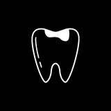 Caries tooth line icon. Dental and medicine, sick tooth vector graphics, a linear pattern on a black background, eps 10 Royalty Free Illustration
