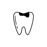 Caries tooth line icon. Dental and medicine, sick tooth vector graphics, a linear pattern on a white background, eps 10 Royalty Free Illustration