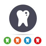 Caries tooth sign icon. Dental care symbol. Stock Photos