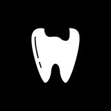 Caries tooth solid icon. Dental and medicine, sick tooth vector graphics, a filled pattern on a black background, eps 10 Stock Photo