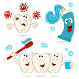 Caries tooth toothpaste and toothbrush vector illustration
