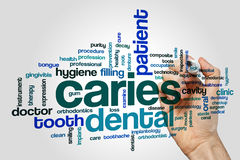 Caries word cloud concept on grey background.  Stock Photos