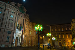 Carignano Square by night, Turin Royalty Free Stock Photos