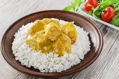 Caril da galinha com arroz foto de stock royalty free