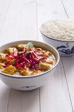 Caril da galinha, com cebolas e pimentão Imagem de Stock