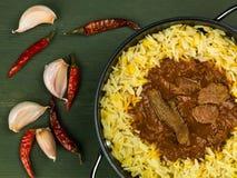 Caril de Madras da carne com arroz aromático do pilau Imagens de Stock