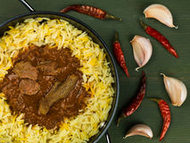 Caril de Madras da carne com arroz aromático do pilau Fotografia de Stock Royalty Free