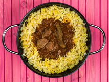 Caril de Madras da carne com arroz aromático do pilau Fotografia de Stock
