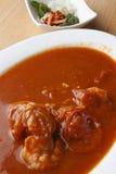 Caril de tomato - curry del tomate y de la gamba Foto de archivo libre de regalías