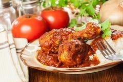 Caril do pilão de galinha com arroz foto de stock royalty free