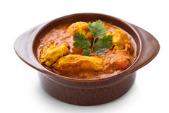 Caril indiano da galinha servido na cerâmica fotografia de stock royalty free