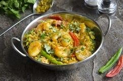 Caril indiano do camarão foto de stock