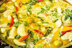Caril verde com galinha, alimento tailandês Imagens de Stock Royalty Free