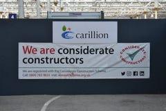 Carillion考虑周到的建设者 免版税库存图片