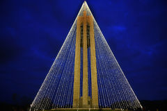 Carillon Bell Tower with Christmas Lights at Night, Horizontal,HDR Royalty Free Stock Photo