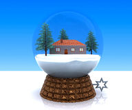 Carillon Christmas winter landscape with house Royalty Free Stock Images