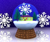 Carillon Christmas winter landscape with house Royalty Free Stock Image