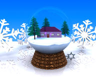 Carillon Christmas winter landscape with house Stock Photo
