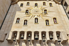 Carillon on the wall of Palace of Dynasty in Brussels Stock Images