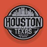 Carimbe ou etiqueta com nome de Houston, Texas ilustração royalty free