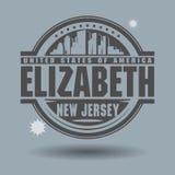 Carimbe ou etiqueta com texto Elizabeth, New-jersey para dentro ilustração royalty free