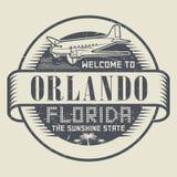 Carimbe ou etiquete com a boa vinda do texto a Orlando, Florida ilustração do vetor