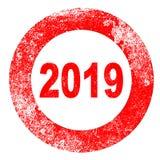 Carimbo de borracha 2019 ilustração stock