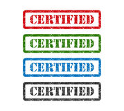 Carimbo de borracha ajustado certificado isolado no fundo Foto de Stock